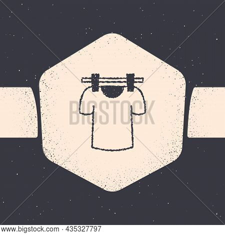 Grunge Drying Clothes Icon Isolated On Grey Background. Clean Shirt. Wash Clothes On A Rope With Clo