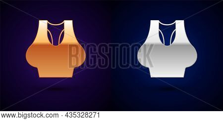 Gold And Silver Undershirt Icon Isolated On Black Background. Vector