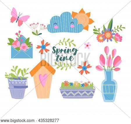 Collection Of Spring Elements. Colorful Stickers With Flower, Postcard, Butterflies And Envelopes. I