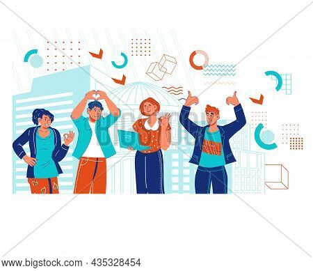 Group Of Modern Successful Business People. Business Team Of Professionals Searching Growth Opportun