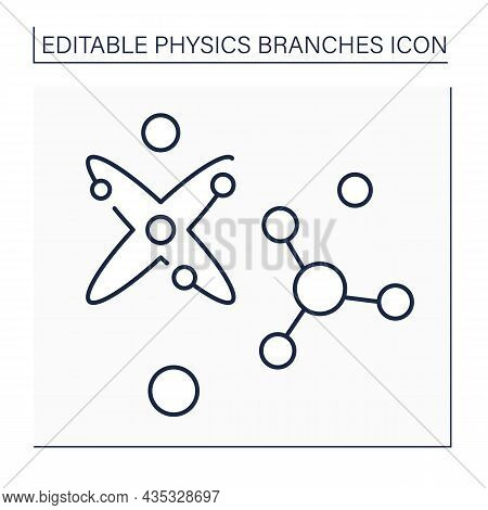 Particle Physics Line Icon. Structure And Properties Of Elementary Particles And Their Interactions.