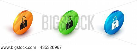 Isometric Realtor Icon Isolated On White Background. Buying House. Circle Button. Vector