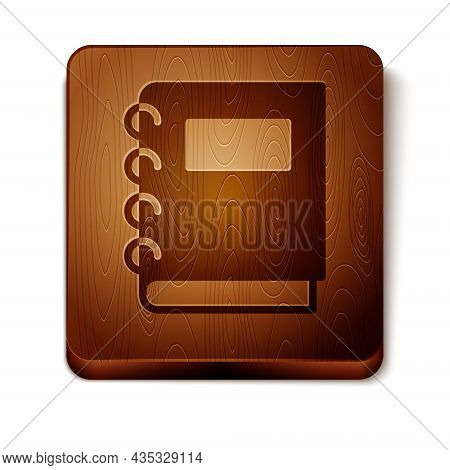 Brown Notebook Icon Isolated On White Background. Spiral Notepad Icon. School Notebook. Writing Pad.
