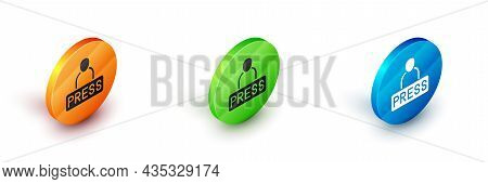 Isometric Journalist News Reporter Icon Isolated On White Background. Circle Button. Vector