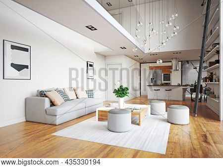 modern living interior design. 3d concept illustration