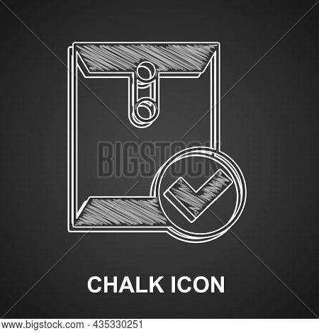 Chalk Envelope And Check Mark Icon Isolated On Black Background. Successful E-mail Delivery, Email D