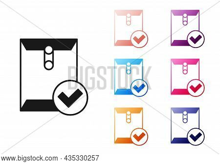 Black Envelope And Check Mark Icon Isolated On White Background. Successful E-mail Delivery, Email D