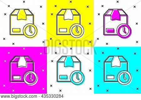 Set Carton Cardboard Box And Fast Time Delivery Icon Isolated On Color Background. Box, Package, Par