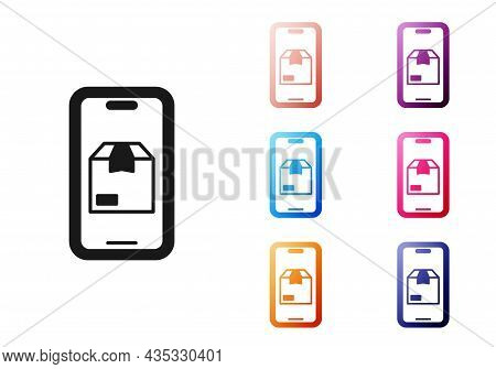 Black Mobile Smart Phone With App Delivery Tracking Icon Isolated On White Background. Parcel Tracki