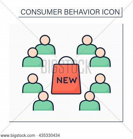 Late Majority Color Icon. Conservative Groups In Community Slower Adopt New Product.consumer Behavio