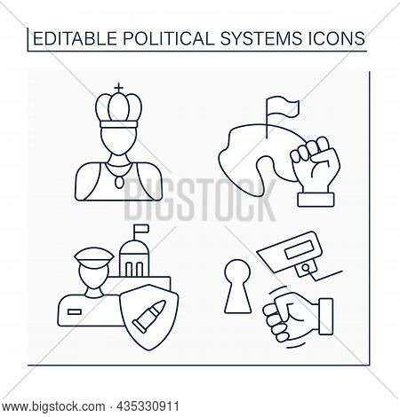 Political Systems Line Icons Set. Republic, Monarchy, Military Regime, Totalitarianism. Sociology Co