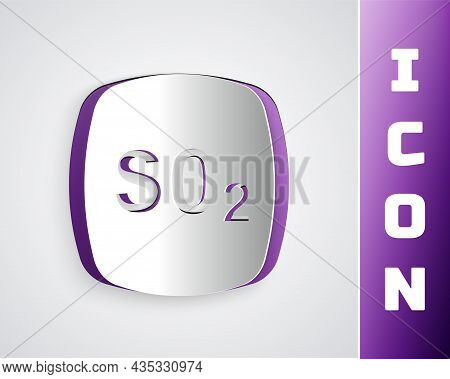 Paper Cut Sulfur Dioxide So2 Gas Molecule Icon Isolated On Grey Background. Structural Chemical Form