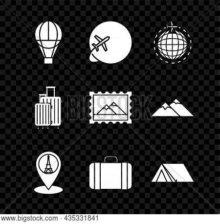 Set Hot Air Balloon, Globe With Flying Plane, Map Pointer Eiffel Tower, Suitcase For Travel, Tourist