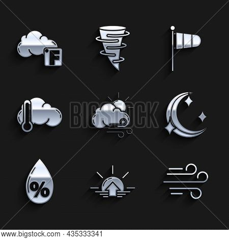 Set Windy Weather, Sunrise, Moon And Stars, Water Drop Percentage, Thermometer Cloud, Cone Meteorolo