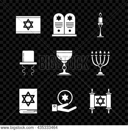 Set Flag Of Israel, Tombstone With Star David, Burning Candle In Candlestick, Jewish Torah Book, Coi