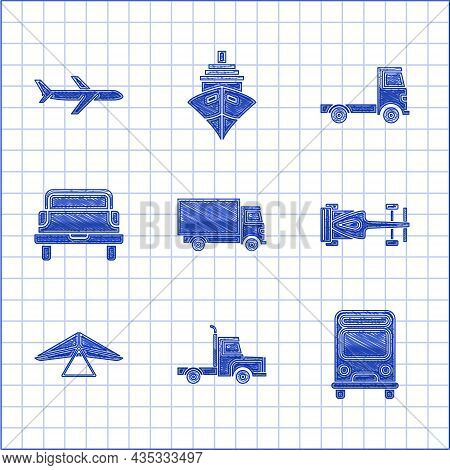 Set Delivery Cargo Truck Vehicle, Bus, Formula Race, Hang Glider, Pickup, And Plane Icon. Vector