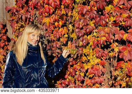 Autumn Woman In Autumn Park. Beautiful Woman With Grape Red Leaves On Fall Nature Background. Pretty