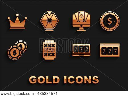 Set Slot Machine With Lucky Sevens Jackpot, Casino Chip Dollar, Online Slot, Poker Table Game, Crown