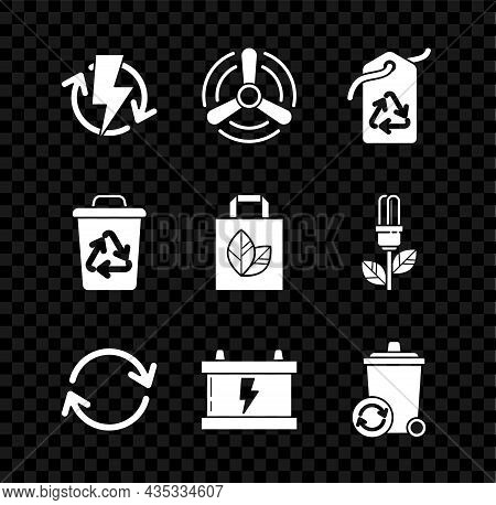 Set Recharging, Wind Turbine, Tag With Recycle Symbol, Refresh, Car Battery, Recycle, And Paper Shop