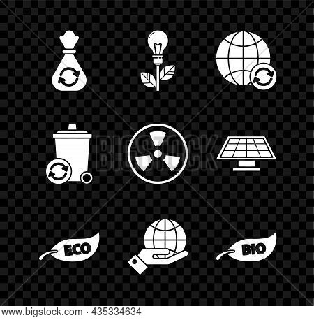 Set Garbage Bag With Recycle, Light Bulb Leaf, Planet Earth And Recycling, Leaf Eco Symbol, Human Ha