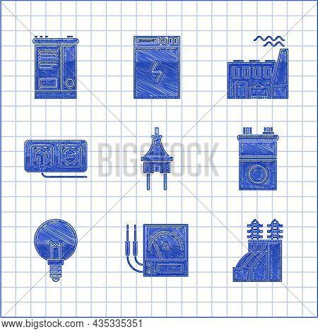 Set Electric Plug, Ampere Meter, Multimeter, Voltmeter, Nuclear Power Plant, Car Battery, Light Bulb