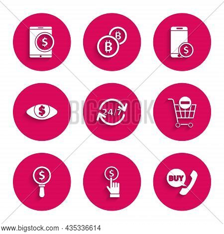 Set Clock 24 Hours, Hand Holding Coin, Phone Speech Bubble With Buy, Remove Shopping Cart, Magnifyin