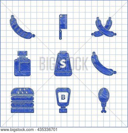 Set Salt, Sauce Bottle, Chicken Leg, Sausage, Burger, Crossed Sausage And Icon. Vector