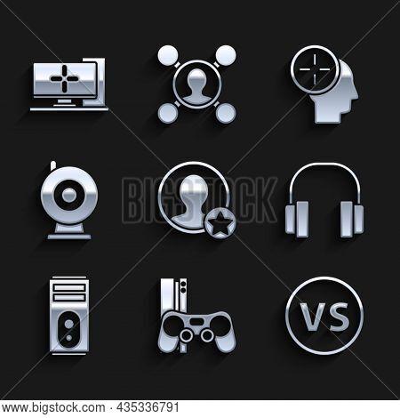 Set Premium Create Account Screen, Game Console With Joystick, Vs Versus Battle, Headphones, Compute