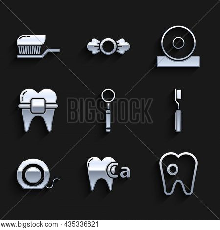 Set Dental Inspection Mirror, Calcium For Tooth, Tooth With Caries, Toothbrush, Floss, Teeth Braces,