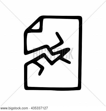 Damaged File Line Vector Doodle Simple Icon