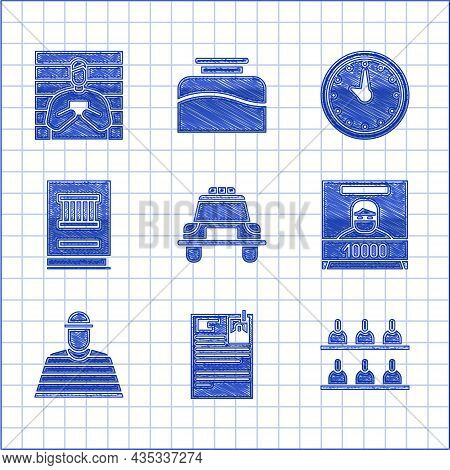 Set Police Car And Flasher, Lawsuit Paper, Jurors, Wanted Poster, Prisoner, Book, Clock And Suspect