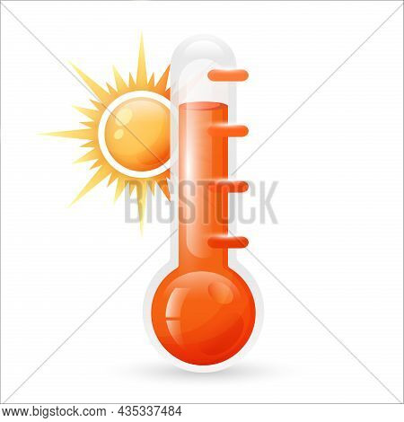 Meteorological Thermometers Isolated On White Background. Red Thermometers  With Sun. Sign Thermomet