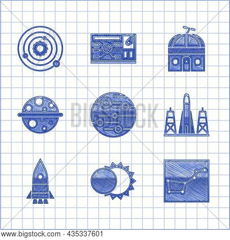 Set Planet Mars, Eclipse Of The Sun, Great Bear Constellation, Rocket Launch From Spaceport, Ship, S