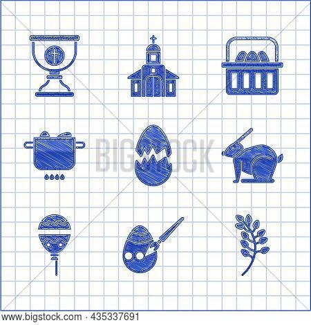 Set Broken Egg, Easter And Paint Brush, Willow Leaf, Rabbit, Balloons With Ribbon, Egg Hot Pot, Bask