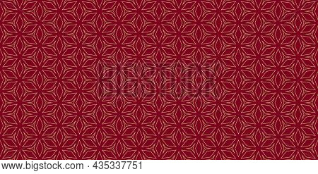 Horizontal Floral Geometric Grid Pattern. Luxury Minimalist Linear Gold, Red Ornament With Flower, D