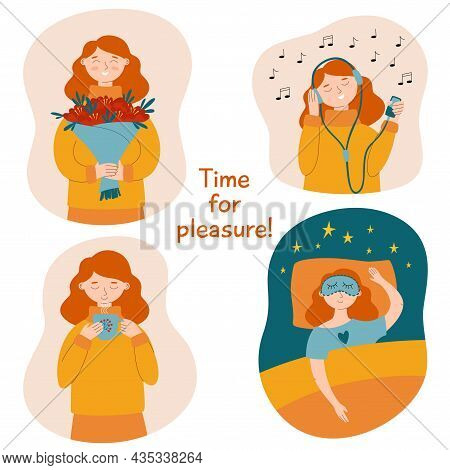 Take Time For Yourself Vector Illustration Set. Happy Lifestyle. Motivation For Women To Take Pleasu