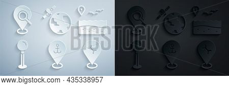 Set Location With Anchor, Beach, Push Pin, Car Service, Satellites Orbiting The Planet And Search Lo