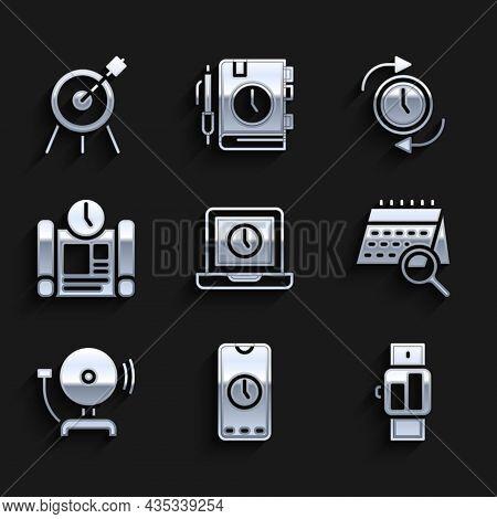 Set Laptop Time, Alarm Clock App Mobile, Smartwatch, Calendar Search, Ringing Alarm Bell, Project Pl
