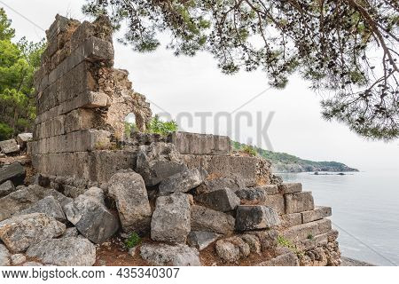 Ancient Cemetery. Ruins Of Phaselis City In North Harbour. Famous Architectural Landmark. Turkey.