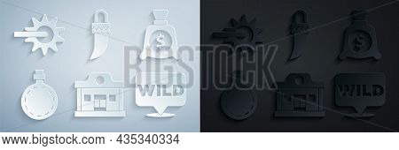 Set Wild West Saloon, Money Bag, Canteen Water Bottle, Pointer To Wild, Tooth And Spur Icon. Vector