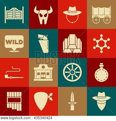 Set Cowboy, Canteen Water Bottle, Hexagram Sheriff, Western Cowboy Hat, Revolver Gun In Holster, Poi