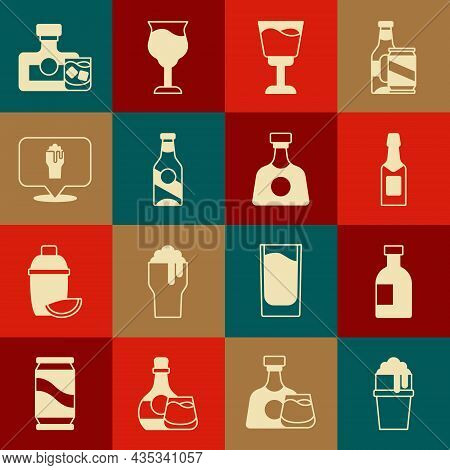 Set Glass Of Beer, Bottle Vodka, Champagne, Wine Glass, Beer, Alcohol Or Bar Location, Whiskey And A