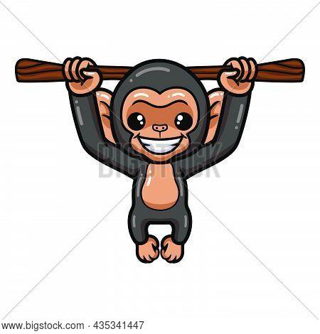 Cute Baby Chimpanzee Cartoon Hanging On Tree Branch