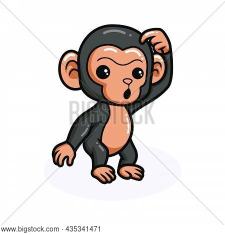 Vector Illustration Of Cute Baby Chimpanzee Cartoon Thinking