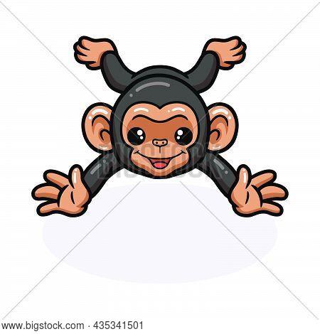 Vector Illustration Of Cute Baby Chimpanzee Cartoon Lying Down