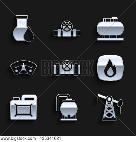 Set Metallic Pipes And Valve, Oil Tank Storage, Pump Pump Jack, Fire Flame, Canister For Motor Oil,