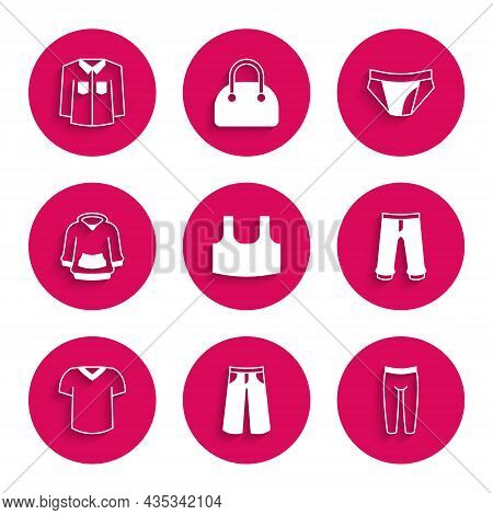 Set Undershirt, Pants, Leggings, T-shirt, Hoodie, Men Underpants And Shirt Icon. Vector