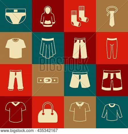 Set Sweater, Short Or Pants, Leggings, Socks, Skirt, T-shirt, Men Underpants And Pants Icon. Vector