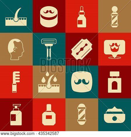 Set Gel Or Wax For Hair Styling, Aftershave, Barbershop, Oil Bottle, Shaving Razor, Baldness, Human