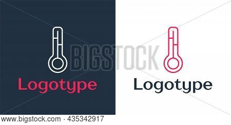 Logotype Line Meteorology Thermometer Measuring Icon Isolated On White Background. Thermometer Equip